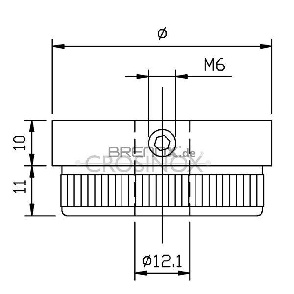 massiv f/ür Rohr /ø 42,4 x 2,0mm Endkappe flach mit /ø 12,1mm Bohrung zum Einschlagen