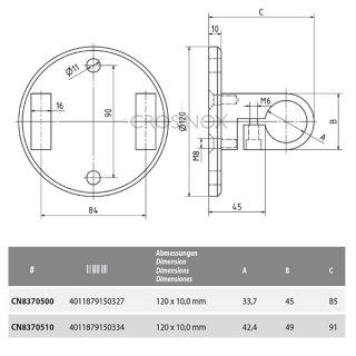 Wandanker für Geländerpfosten, mit Ringaufnahme & runder Anschlussplatte, V4A Edelstahl geschliffen