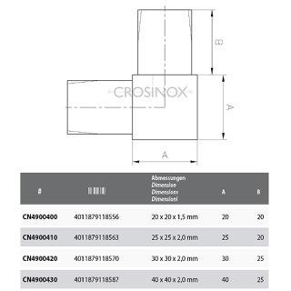 Eckverbinder 90° für Vierkantrohre, V4A Edelstahl
