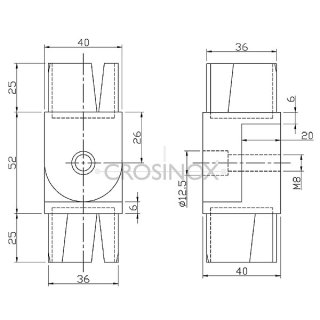 Gelenkverbinder 90 - 180° für Vierkantrohre 40 x 40 x 2 mm, V2A Edelstahl geschliffen