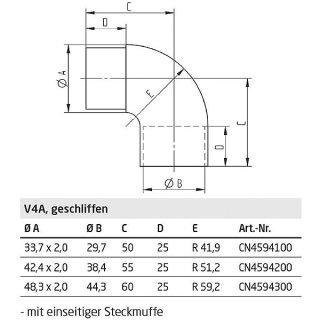 Rundbogen 90° für Rundrohre mit einseitiger Steckmuffe, V4A Edelstahl geschliffen