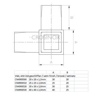 Eckverbinder (3 Anschlüsse) für Vierkantrohre 20 x 20 x 1,5 mm, V4A Edelstahl geschliffen