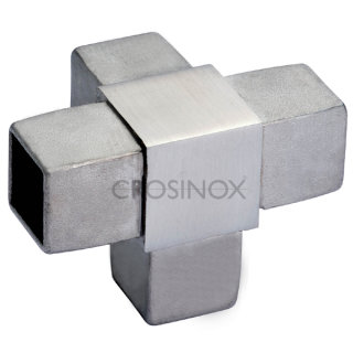Eckverbinder (4 Anschlüsse) für Vierkantrohre, V4A Edelstahl geschliffen
