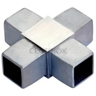 Kreuzstück (4 Anschlüsse) für Vierkantrohre 20 x 20 x 1,5 mm, V4A Edelstahl geschliffen