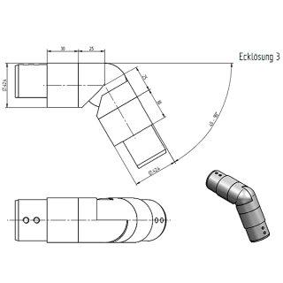 Ecklösung mit Gelenk 45°-90° für LED-Handlauf-Set, für Nutrohr rund Ø 42,4 mm, V4A Edelstahl geschliffen