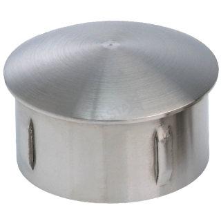 Endkappe, gewölbt, hohl, mit flexiblen Klemmbügeln, V2A Edelstahl geschliffen
