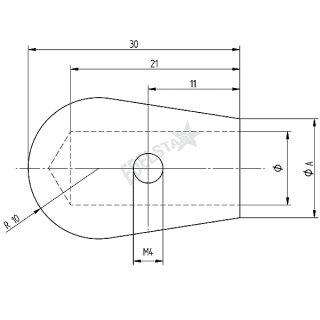 Endkappe für runde Füllstäbe, inkl. Fixierschraube, V2A Edelstahl geschliffen