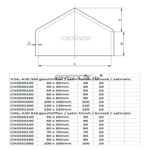 geschliffen Edelstahl Pyramidenkappen H/öhe 10 mm Ecken verschwei/ßt Innenma/ß 80 mm x 80 mm V2A//1.4301