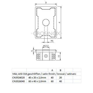 Endkappe rechteckig für Vierkantrohre, mit Mittelbohrung 12,2 mm, V4A Edelszahl geschliffen