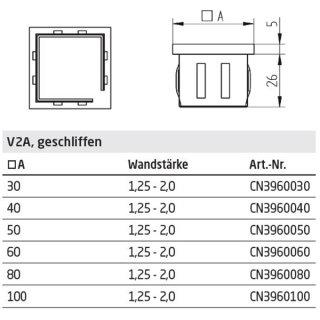 Endkappe quadratisch für Vierkantrohre, mit flexiblen Klemmbügeln, hohl, V2A Edelstahl geschliffen