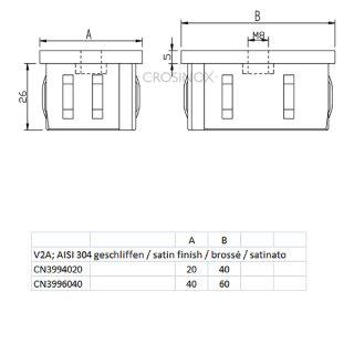Endkappe rechteckig für Vierkantrohre, mit flexiblen Klemmbügeln, mit Mittelgewinde M8, hohl, V2A Edelstahl geschliffen