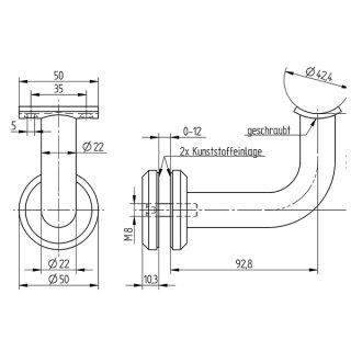 Handlaufträger für Glashaltersysteme, flache Ronde, Anschraubplatte für Ø 42,4 mm, V2A Edelstahl geschliffen