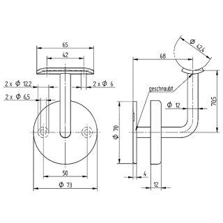 Handlaufträger für Wandmontage, Anschraubplatte für Ø 42,4 mm, mit Rosette, V2A Edelstahl geschliffen